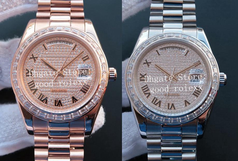 Top Herrenuhr römische Ziffer Kristall-Diamant-Zifferblatt Lünette-Mann-automatische 2836 Eta Uhr SY Fabrik Day Date 228396 Präsident Armbanduhr