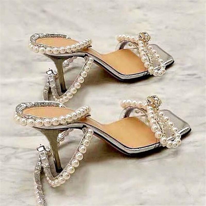 Женщины Pearl сандалии новые высокие каблуки свадебное платье обувь женщина площади Toe Гладиатор Сандал Sexy Женщины Насосы Silver
