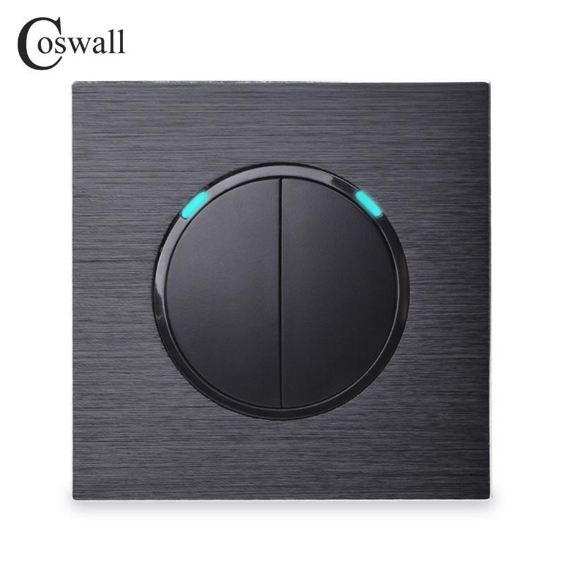 Coswall 2 Gang 1 Way Rastgele TIKLAYIN / LED Göstergesi Siyah / Gümüş Gri Alüminyum Metal Panel R12-02 ile Kapalı Duvar Işık Anahtarı