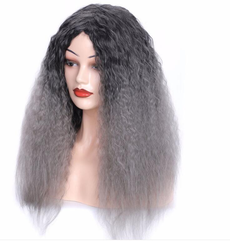 Livraison gratuite Boîte de nuit Les femmes de la mode coiffures de cheveux longs noirs et bouclés coiffures perm maïs dégradé de couleur gris mamie coiffures cheveux longs