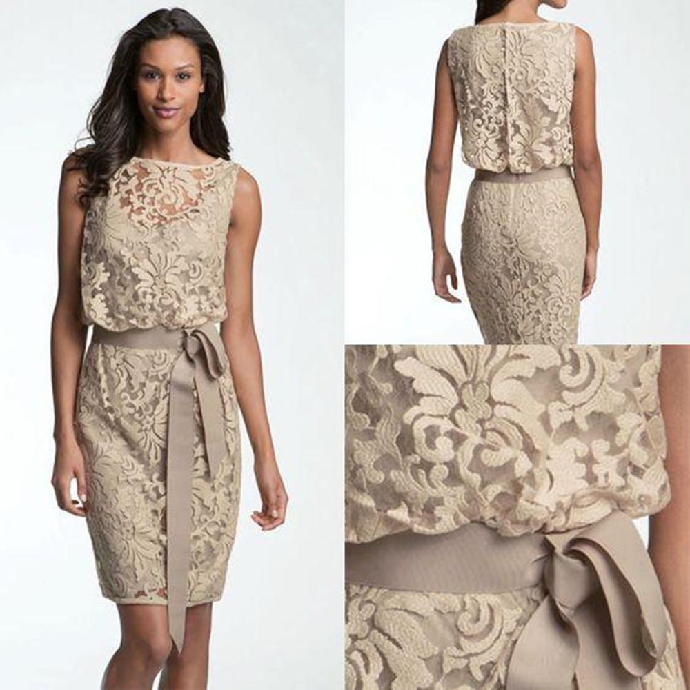 Vintage Lace мама невесты платья Бато шеи длиной до колена оболочки Короткие свадебные платья для гостей Формальные Пром платья