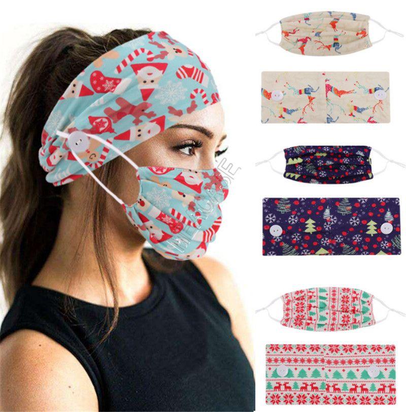 2020 Designers Masks Holder Headbands with Button Fashion Face Mask Christmas Tree Print Women Sports Yoga Elastic Hair Band 2pcs/set D9207