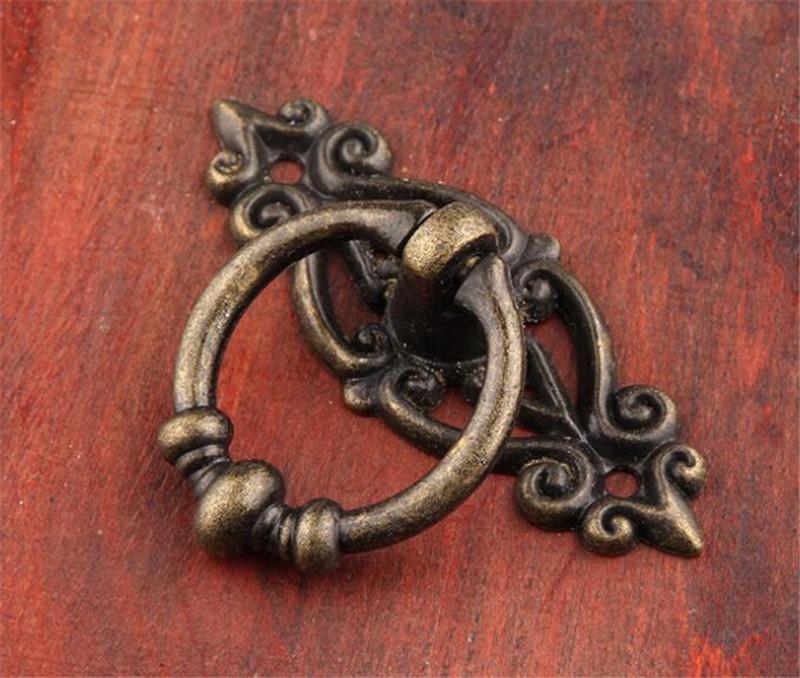 Hot Garden Retro liga de zinco Cozinha gaveta porta do armário Handle Móveis Puxadores Hardware Armário antigo Tone puxadores Bronze + Parafuso