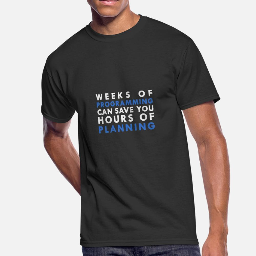 Semanas da programação Cna economizar horas de Planejamento camiseta homens malha de manga curta O Neck cor sólida solto autêntica Primavera Outono Kawaii