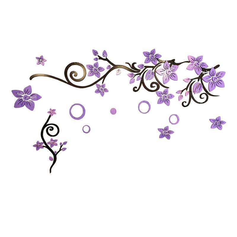 2021 Purple Flower Vine Acrylic Wall Sticker Easy Install Diy Wall Stickers Vintage Room Decoration For Bedroom Tv Wall Wallpaper From Familyflooring 89 45 Dhgate Com