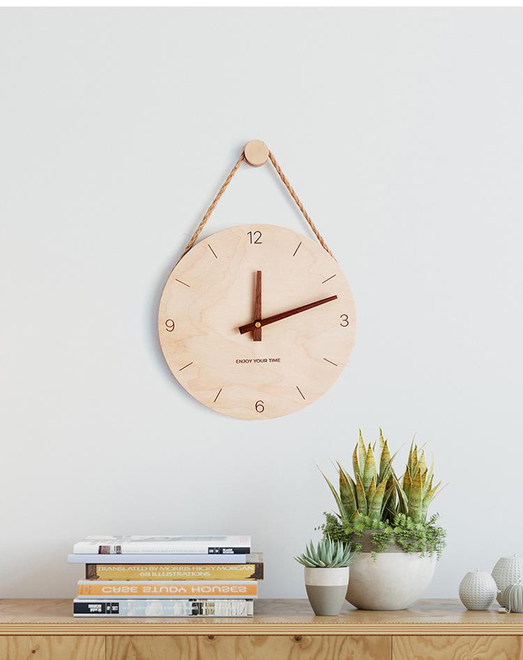 Wall Clock Silent Quartz Wood Numbers Display Wall Clock Easy to Read Battery Operated Clock for Kitchen Living Room Office