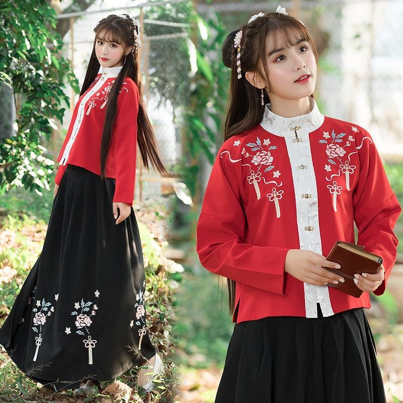 102H0 Alte chinesische Kleidung Zhang Xiu qun und xiu qun Lange Laute Kleidfrauen des Erwachsenen täglich Pankragenkleid Hülse Hülse rot stehen zhang XDHBz