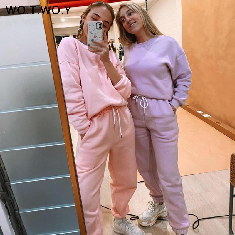 WOTWOY Polaire Ensemble 2 pièces femme Pantalons et Top 2020 Ensemble Stacked Sweatpants Survêtement Femmes Crop Tops Femmes Sportwear Joggers T200817