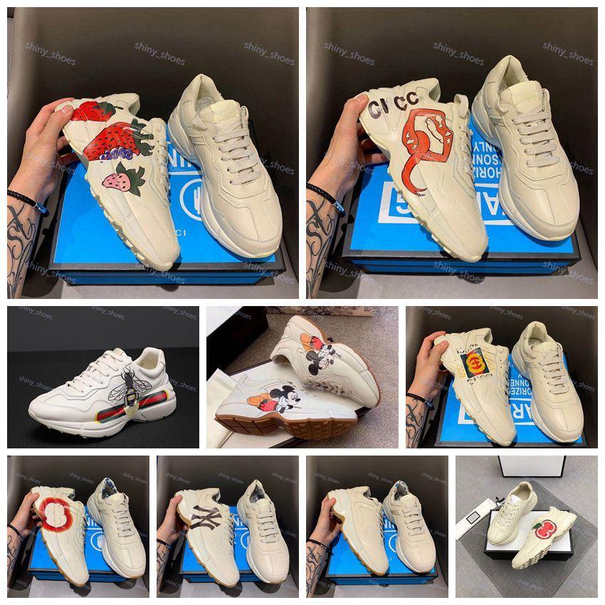 Gucci Rhyton Vintage sneakers pelle di design papà dei pattini bianchi della piattaforma d'oro casuali di alta qualità di arrivo Rhyton degli uomini delle donne cuscino d'aria