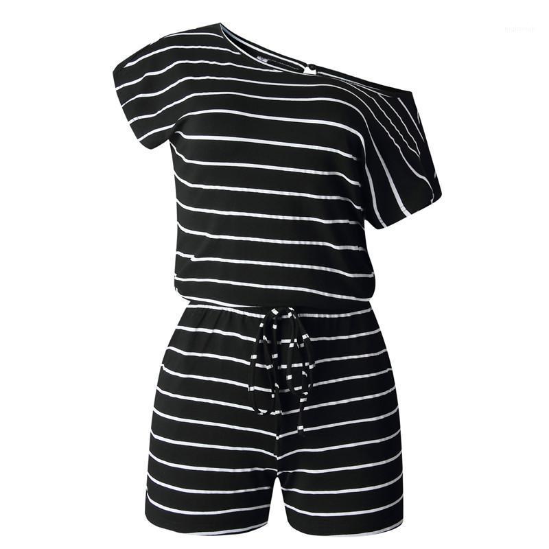 Bekleidung Sommer Weibliche beiläufige Overalls kurze Hülsen Min Sexy Kordelzug Striped Printed Womerns Strampler Street Style Weiblich