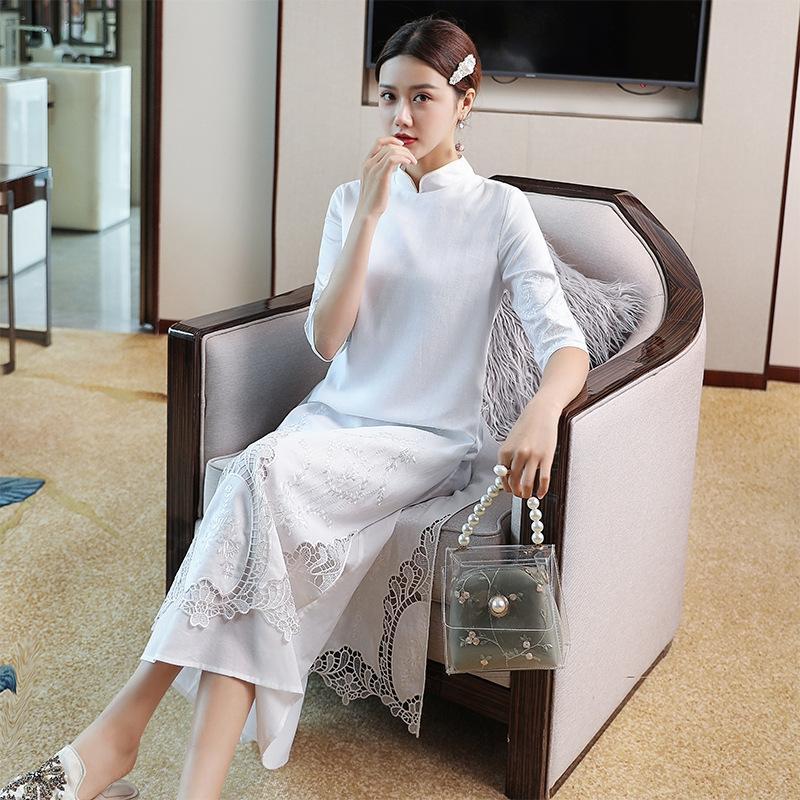 6on8I Женский небольшой темперамент стенд collarslim перерезал Cheongsam платье улучшенной Cheongsam поддельных из двух частей нового платья