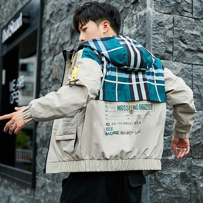 Outono nova das NezFZ REtA4 homens de peixe de madeira Macacões Peixes de madeira jaqueta de personalidade com capuz para adolescentes coreano ajuste macacão casaco magro dos homens