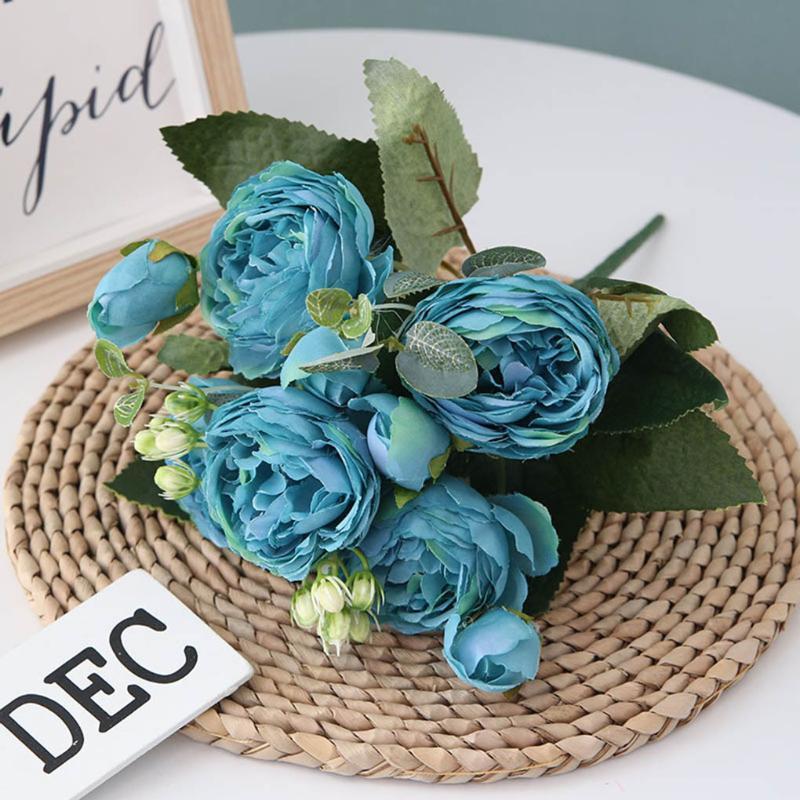 5 Jefes artificial de Filipinas Pérsico ramo color de rosa del partido Inicio floral de la boda Simulación decoración plástica seda falso Flores