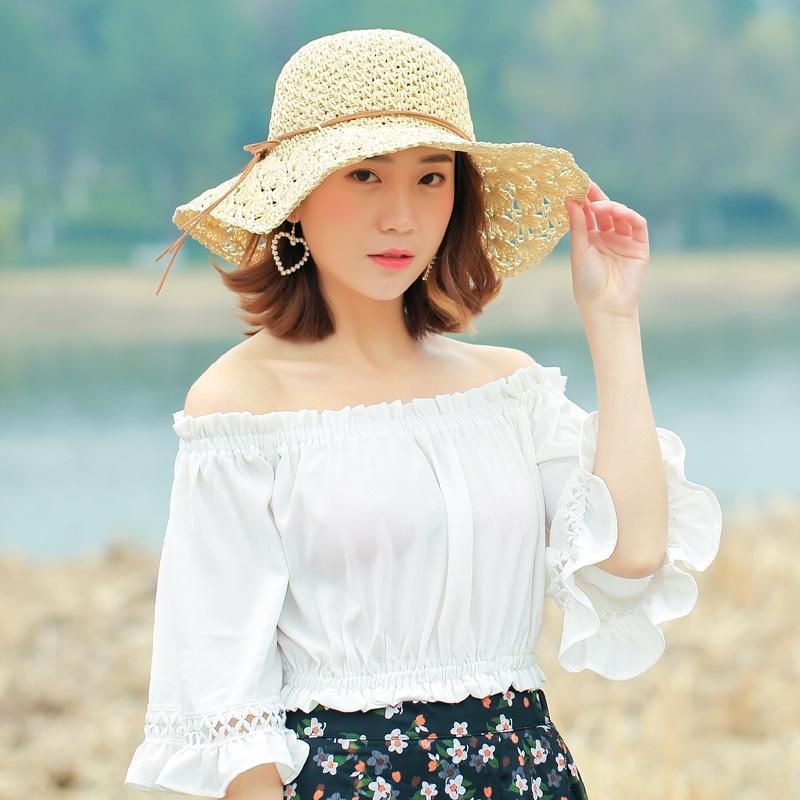 2019 printemps et en été nouveau pétale ras bord mince arc mode chapeau de soleil plage de la mode papillon papillon extérieur style coréen des femmes