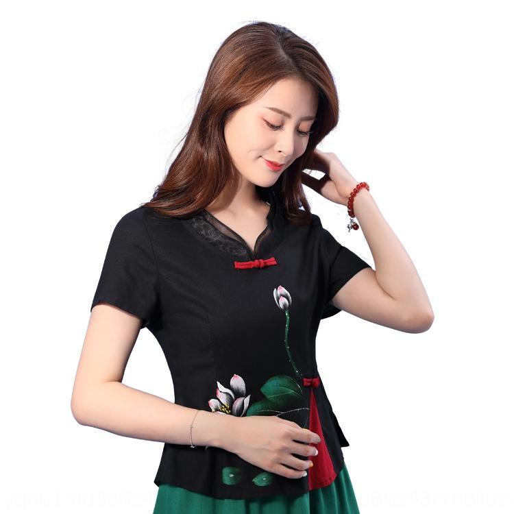 Slim-fit estilo étnico Verão 2020 imprimiu a camisa camisa carrinho nacional colarinho das mulheres New Lingyan dupla