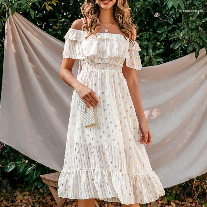 Robe de plage à pois plissé Robes longues Maxi Ladies Party Dress 2020 élégante d'été Off Robe Femmes