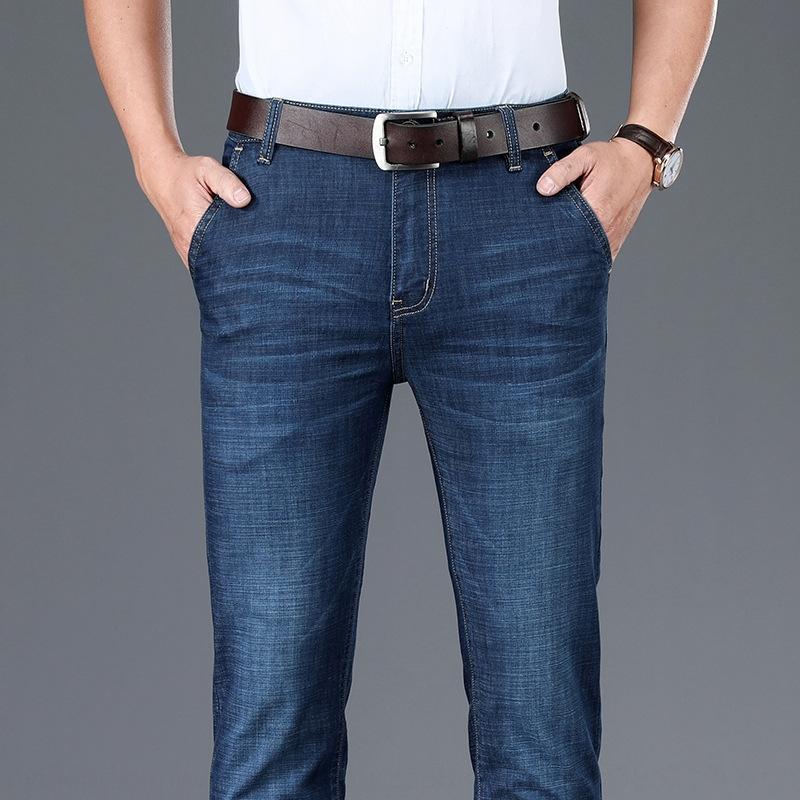 9dt1N Sommer tencel Jeans Herren-Casual Hosen ultradünne gerade lose Geschäft Stretch große Hosen der beiläufigen Männer