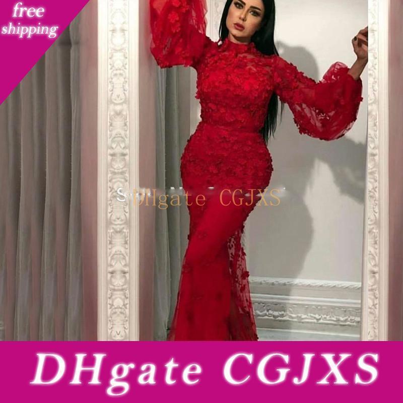 Red Abendkleider Dubai árabe vestido de noite 2019 New Custom Mangas longas Robe de soirée sereia Vestidos de baile