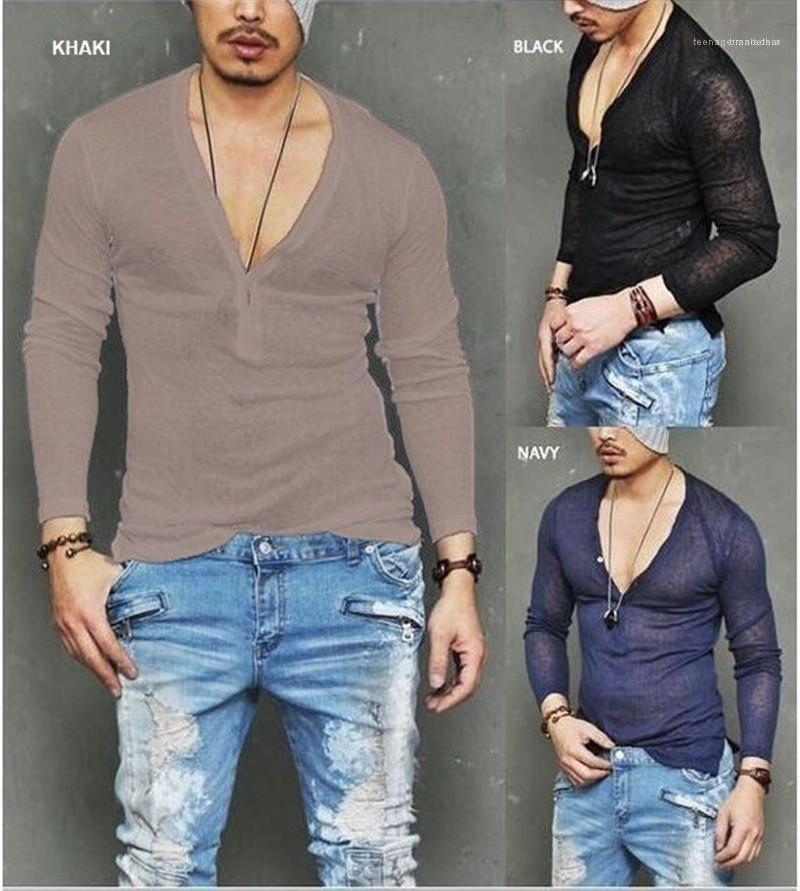 긴 소매 슬림 캐주얼 티셔츠 남성 여름 V 넥 남성 디자이너 단색 티셔츠 패션 탑