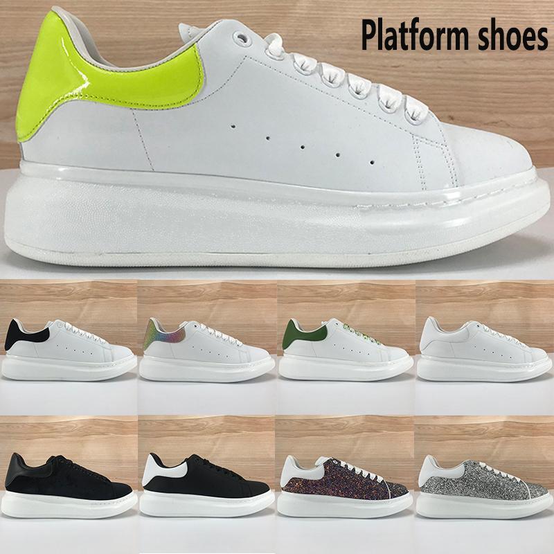 2020 Nuova piattaforma scarpe casuali calce bianca riflettente velluto nero superiore argento rosso paillettes luce degli uomini di modo di colore rosa delle donne scarpe da ginnastica