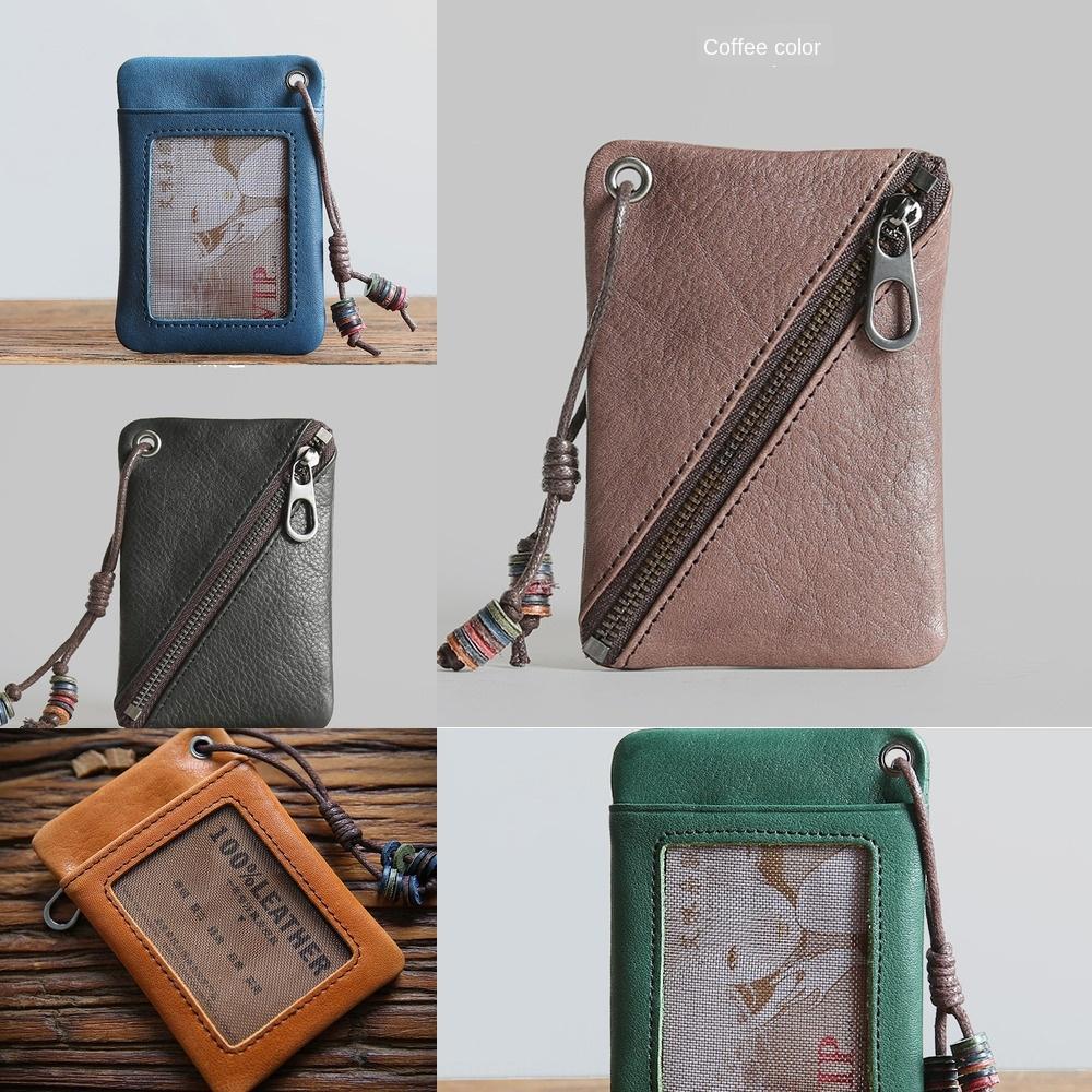 erkek ve kadınlar için geçerli Günlük deri bozuk para cüzdanı ilk katman cüzdan sığır derisi küçük cüzdan Mini jeton çanta