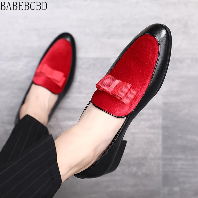 BABEBCBD formal homens sapatos bowknot vestido de casamento masculino Flats Gentlemen deslizamento ocasional em sapatos de couro preto Patent Red Suede Loafers
