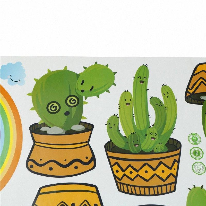 1pc PVC Cactus Wall Sticker Green Plant Wall Window Decals Pot Flower Cactus For Living Room Home Decoration xLq6#