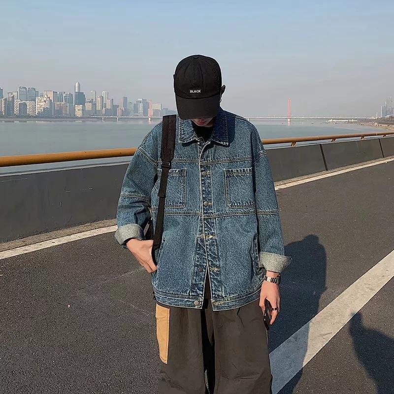 kiVhx veste printemps et automne jean délavé à la mode casual lâche P7Vnz style coréen veste en jean multi-poches