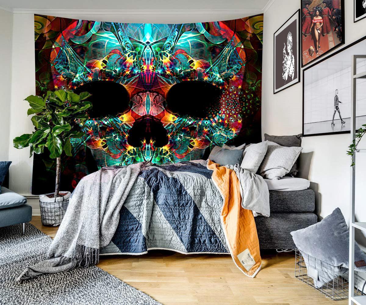 Scary Schädel Wandbehang Mandala Tapisserie Strandtuch Yoga throw Polyester für Wanddekormatte Bettdecke Hippie Boho