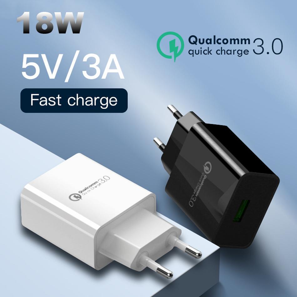 QC3.0 Caricabatterie da muro USB 18W Caricabatterie Quick Viaggi universali Adattatore di ricarica veloce per telefono cellulare