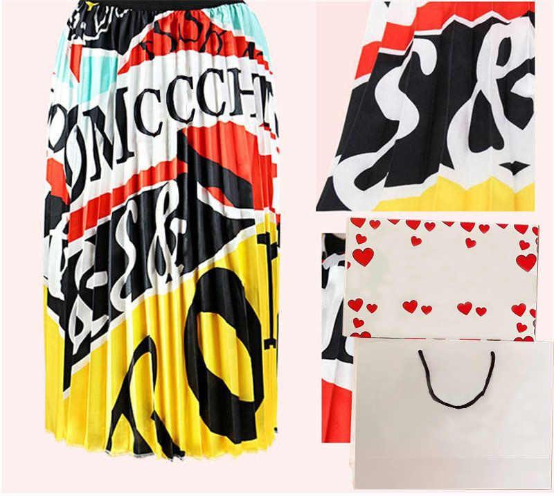 اللباس 20ss المرأة الصيف تنورة الصيف كبيرة الحجم المرأة مطوي تنورة الرقمية طباعة التنورة المصنع مباشرة