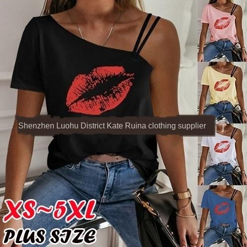 6qDAZ 2020 Summer new red lip printing irregular T-shirt women's 5 color shoulder strap T-shirt shoulder strap 9 size