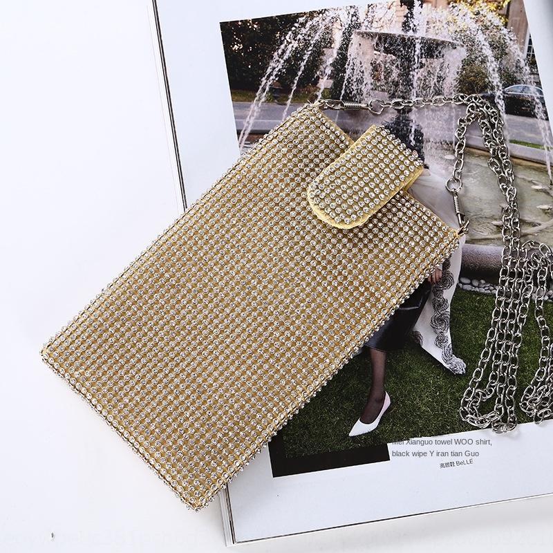 Neue Diamanten besetztes Handy Damen-Kette Messenger Schulter kleines Strass Telefon Abendtelefonbeutel vertikal Abendtasche