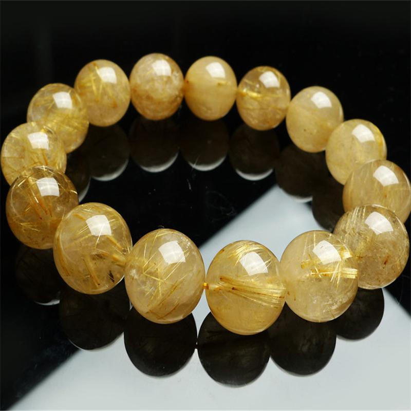 Бисером, пряди 15 мм подлинный натуральный желтый волос титановый рутилированный кварцевый кристалл круглый Bea мода ювелирные изделия шарм растягивающие браслет женщины