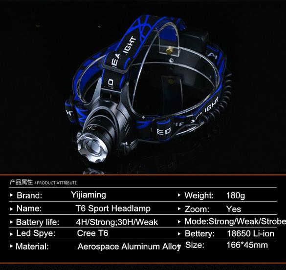 free shipping via dhl 50pcs/lot cordless camping rechargeable zoomable headlamp led hunting light YJM-1T6