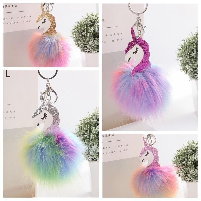 Cadeia Styling Fur Handbag Car Unicorn cavalo Chaveiro Telefone Keychain Mulheres 4styles Pompom Pom Fluffy Car Key Pendant Anel Pom dayupshop DhiPV