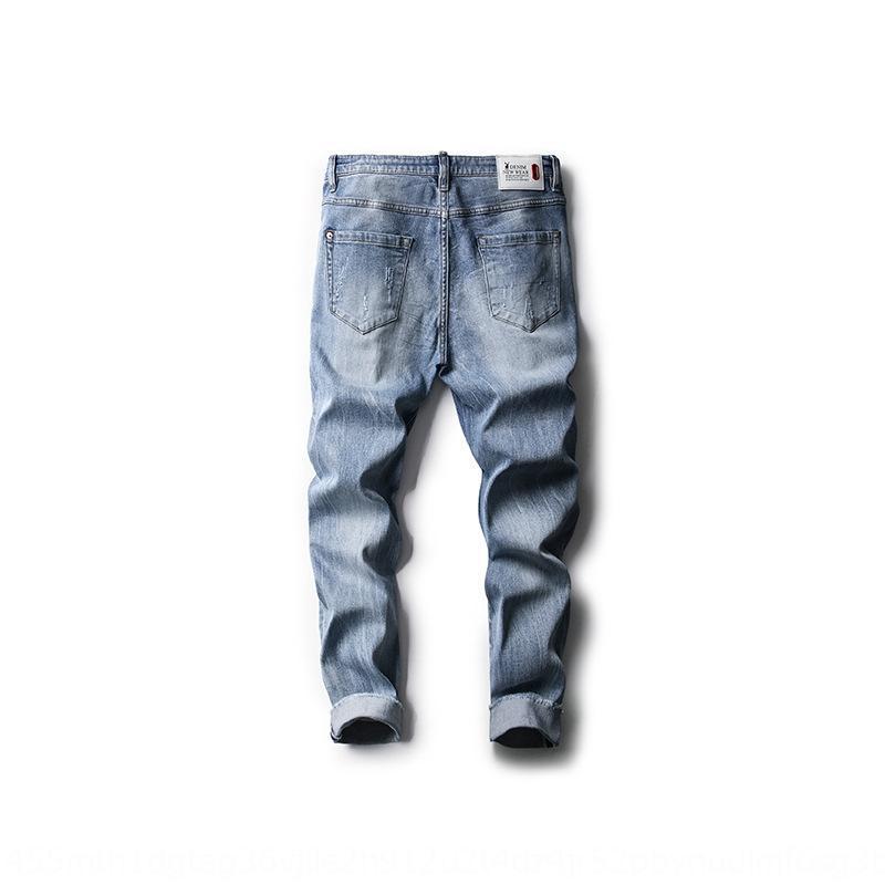 RGyGr 2020 nueva primavera y el verano de mezclilla pantalones cosechados estiramiento delgado hombres del estilo de Corea Nueve nueve pantalones agujero rompiendo recortada 309 jóvenes