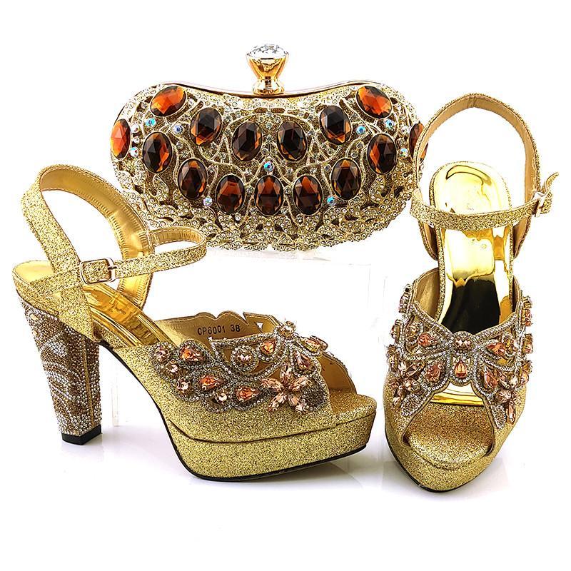Conjunto de zapatos de mujer y bolso de moda de oro con bol bombs africanos de cristal africano para el vestido CP6001, talón 11 cm