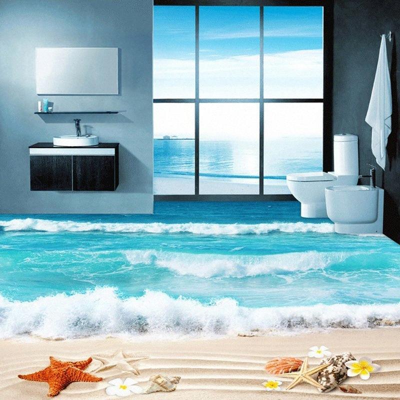 Пользовательские 3D фото пола Обои Ванная комната Гостиная Настил Фрески Водонепроницаемая Утолщенные самоклеющиеся Wall Papers Shell Beach sCH9 #