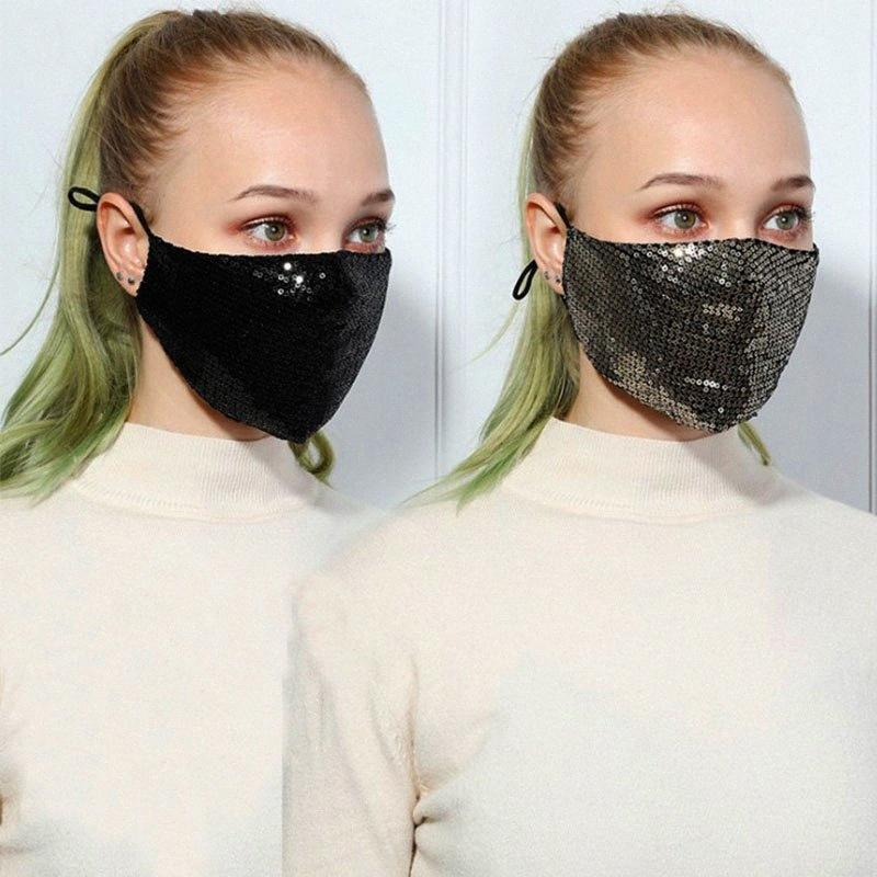Mode 3D lavable réutilisable Masque PM2,5 Soins du Visage Bouclier d'or brillant coude Paillettes Brillant Femmes Visage Couverture de montage Masques anti-poussière bouche M PWPh #