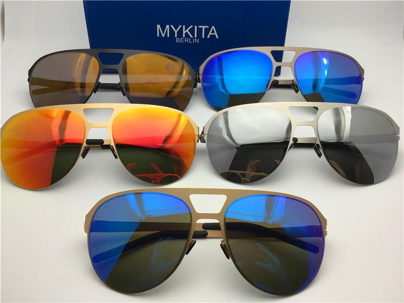 MYKITA nueva gafas de sol del marco ultraligero sin tornillos ARON solapa marco piloto de gafas de sol de los hombres superiores de la marca de recubrimiento de lentes de espejo