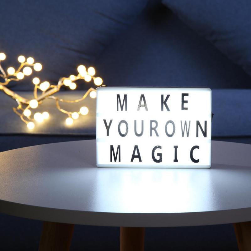 DIY A6 Tamanho Combinação LED Box Night Light Lamp Table DIY PRETO Letters Cartões Alimentado por USB Lightbox