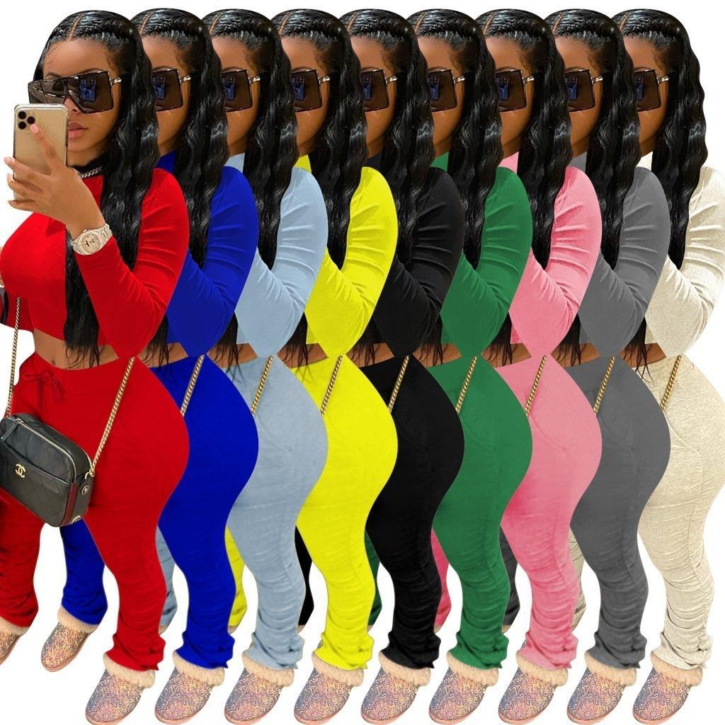 Frauen 2-teiliges Set Anzug Fashion Solid Color Langarm-T-Shirt Spitze Plissee Hose Sport Outfits Damen Freizeit-Plus Size Jogginganzug