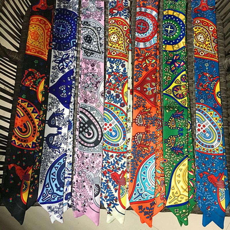 Women Small Silk Scarf Mixed Design Ribbon Neckerchief Colorful Vintage Waistband Multifunctional Magic Neck Bag Handle Scarves & Wraps