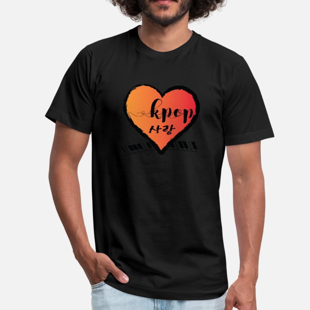 Kpop Sarang Сердце Ss T Shirt Men печати 100% хлопок O-образным вырезом Нормальный подарков Основные Летний стиль тонкая рубашка