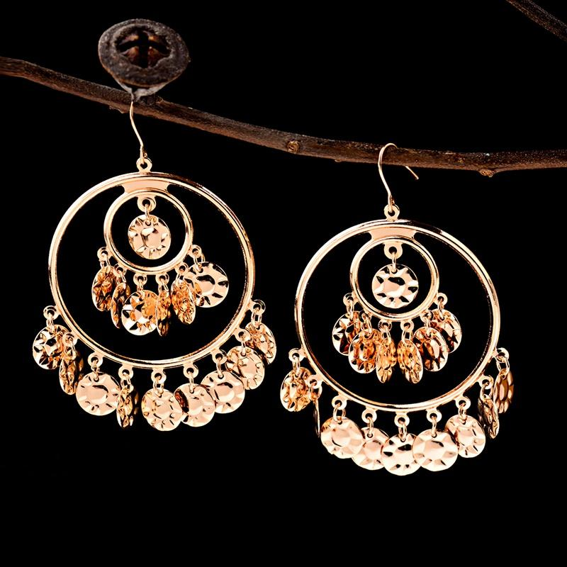 TopHanqi Boemia oro jhumkas monili dell'orecchino di modo di fascino grande cerchio rotonda paillettes in metallo nappa orecchini di goccia per le donne