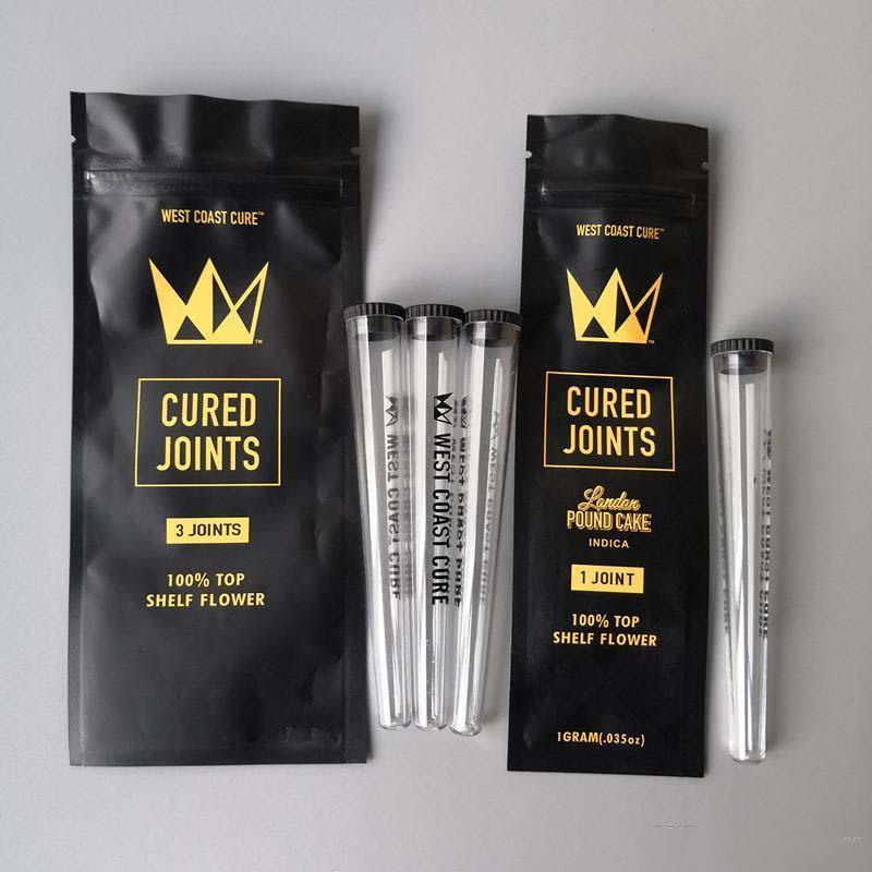 Cure embalaje 3pcs Embalaje Preroll 2020 Tubos West Coast Moonrock + plástico bolsa 1pcs tubo pre-laminado curado articulaciones xhlight oOZFX