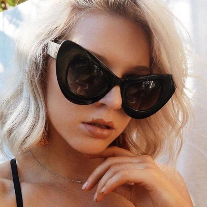 Occhiali da sole Fashion for Cat Brand Frame Big Designer Glasses Oversized UV400 Eye Vintage Shades Occhiali da sole Occhiali da sole Donne Ladies VLGTU