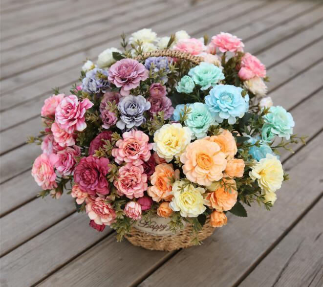 Fleurs artificielles Bouquet pas cher Simulation d'azalées décoration de jardin Carthame fête de mariage soie plantes en plastique GB216
