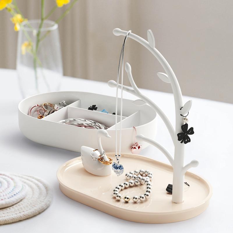 Rose filles Heart Lake Swan Boîte à bijoux Accueil Décorations Porche suspendus Porte-clés anneau de stockage en rack